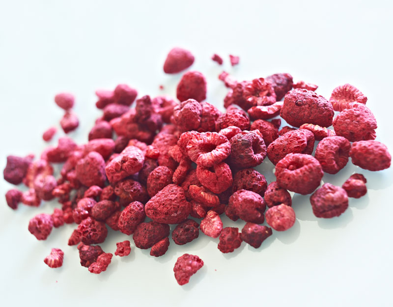 Microwave freeze dried raspberries